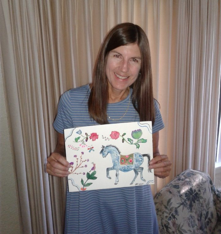 My friend's favorite animal is a horse so I made her this painting as a gift to her for MY 50th birthday | Jennifer Margulis