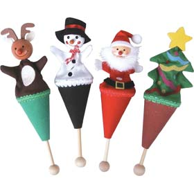 Christmas pop-up puppet examples, including a tree and a snowman