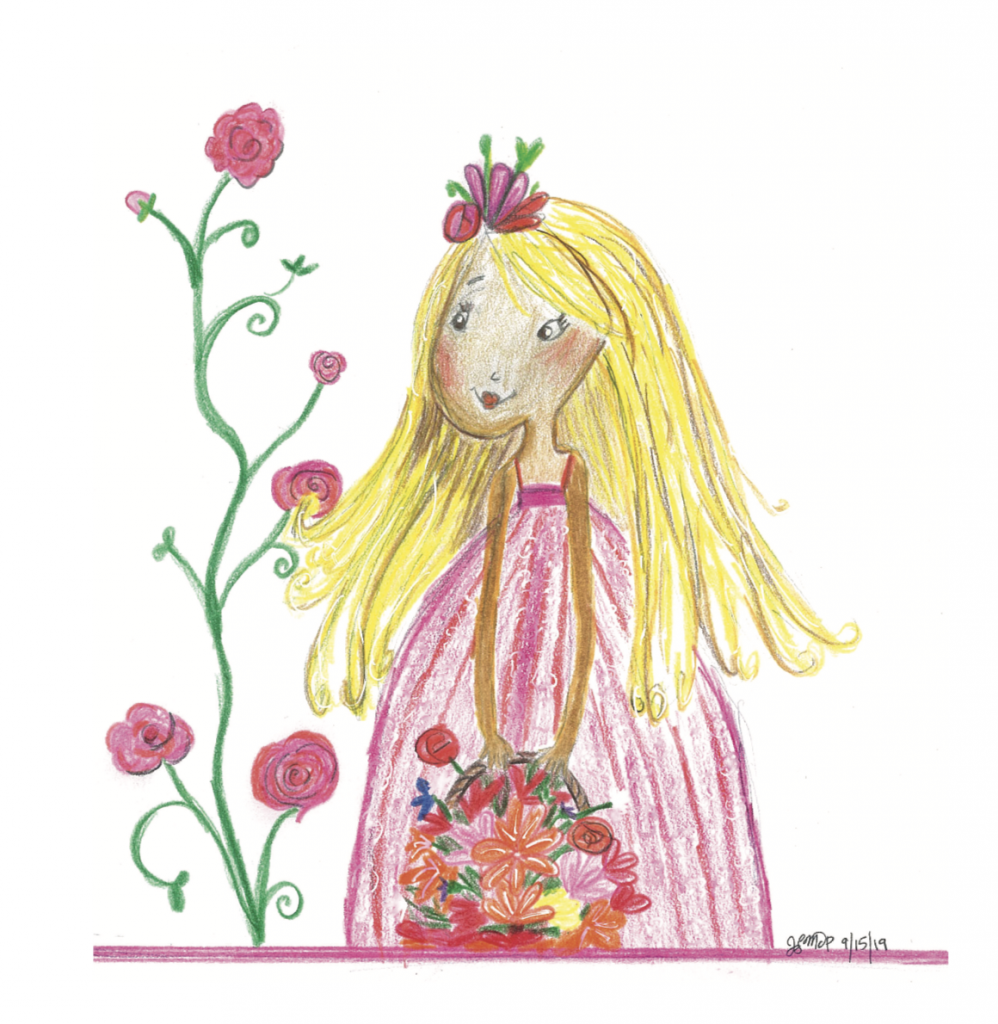Feeling blue? Try doing some art. Drawing something whimsical like this girl carrying a basket of flowers can make you feel better | Jennifer Margulis, Ph.D.