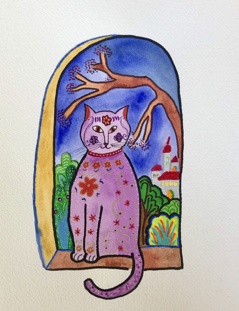 Watercolor and mixed media whimsical purple cat in the window. Coloring your life by making art promotes happiness | Original art by Jennifer Margulis, Ph.D.