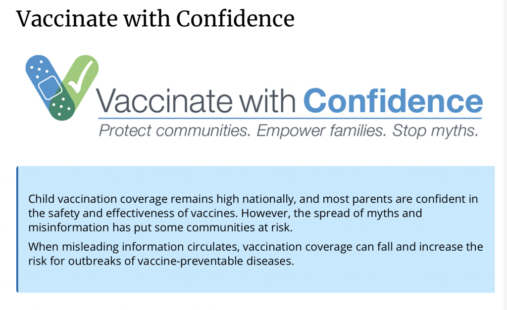 Vaccinate with Confidence is a new CDC campaign to empower families