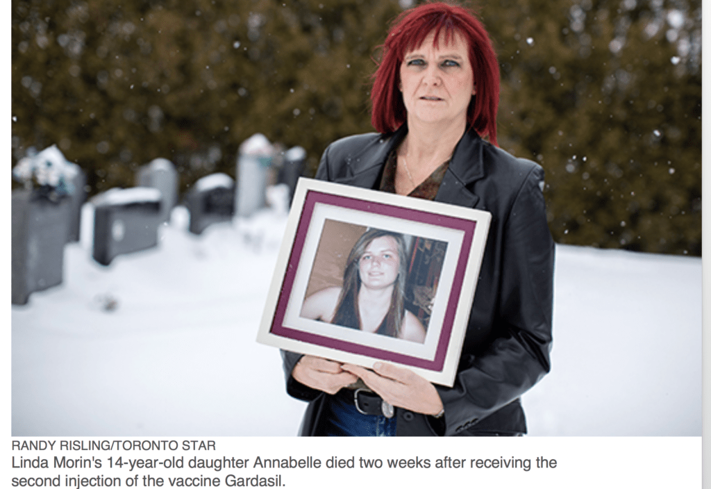Linda Morin's daughter died after getting the HPV vaccine. But after the Toronto Star published her story, the article was censored. Safe vaccines should be everyone's concern.   Jennifer Margulis, Ph.D.