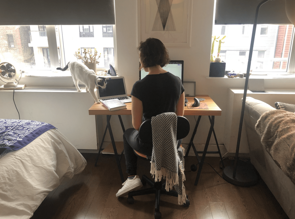 Andrea Bartz, author of the thriller, THE HERD, working from home in New York. Launching a book during coronavirus isn't easy. Photo courtesy of Andrea Bartz. | Jennifer Margulis, Ph.D.