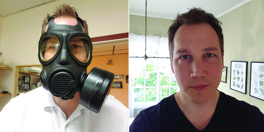 Dr. Vilis Pavulans reflects on coronavirus in Sweden. Pictured here wearing a military grade mask on left, and mask-less on the right. | Jennifer Margulis, Ph.D.