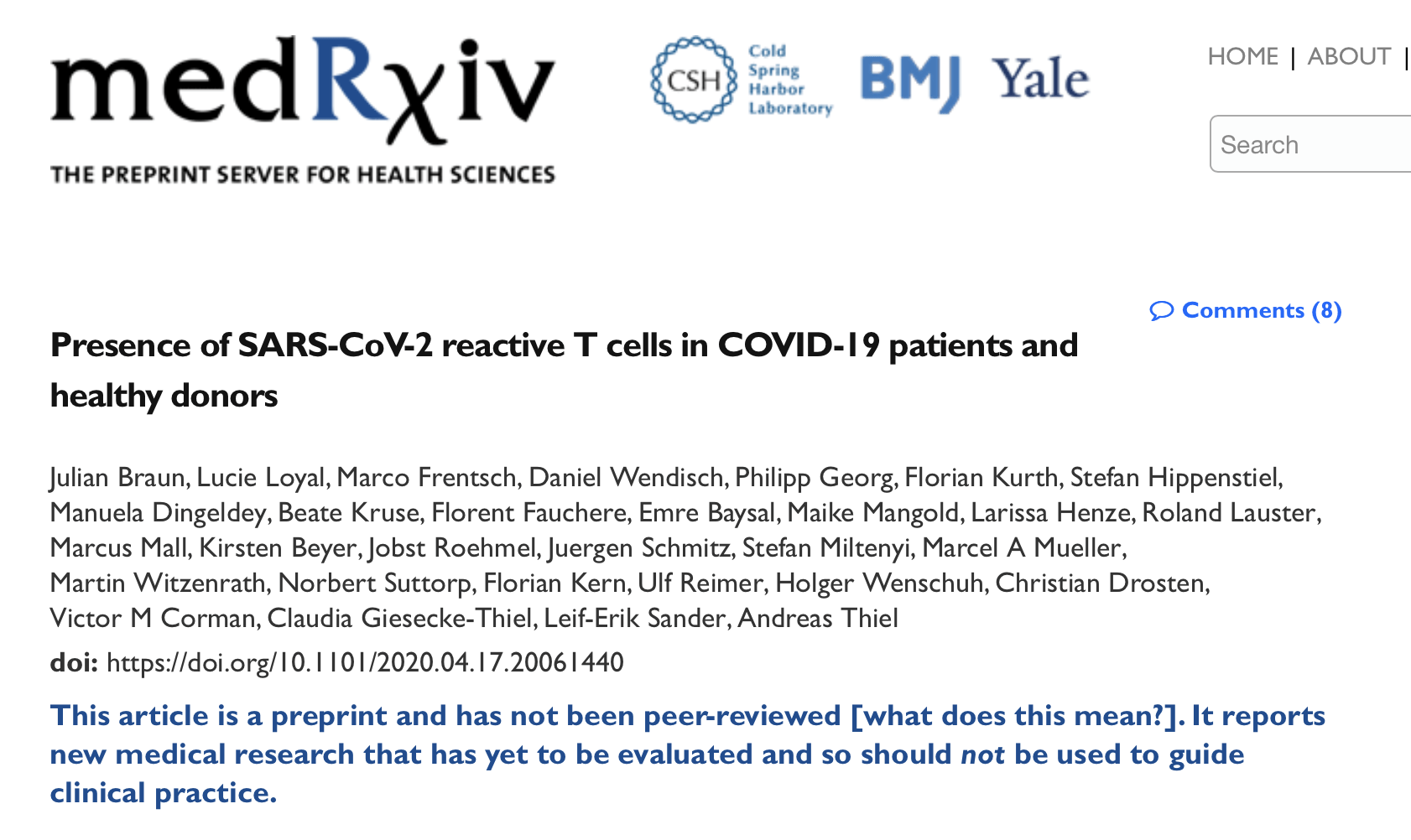 A team of German scientists have found the presence of S-reactive CD4+ T cells in 83% of COVID-19 patients and 34% of SARS-CoV-2 seronegative healthy donors. Paul Thomas, M.D., discusses the truth about COVID-19