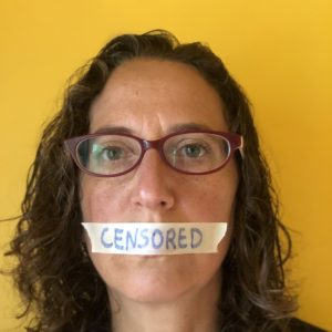"""Censorship in America has gotten out of hand. Facebook, YouTube, Medium, even Amazon are all actively censoring alternative health information and anything that doesn't fit the """"religious"""" left narrative. Photo of a woman with masking tape over her mouth. 