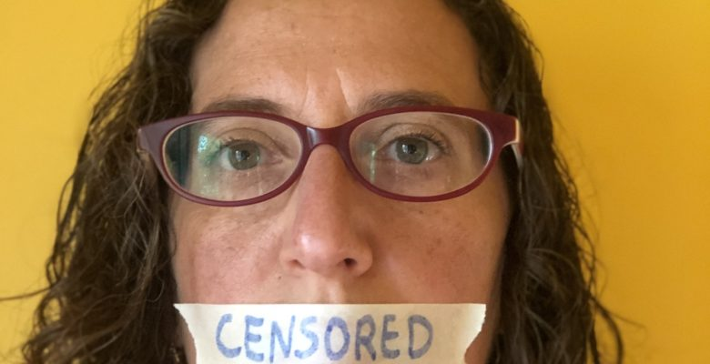 "Censorship in America has gotten out of hand. Facebook, YouTube, Medium, even Amazon are all actively censoring alternative health information and anything that doesn't fit the ""religious"" left narrative. Photo of a woman with masking tape over her mouth. 
