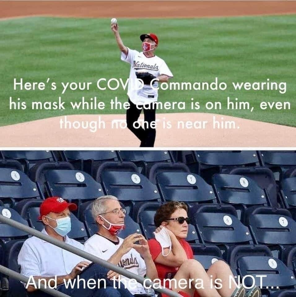Anthony Fauci wears a mask when no one is around but takes his mask off when he's sitting next to friends? #1 of 23 COVID memes #Faucifailure via Jennifer Margulis, Ph.D.