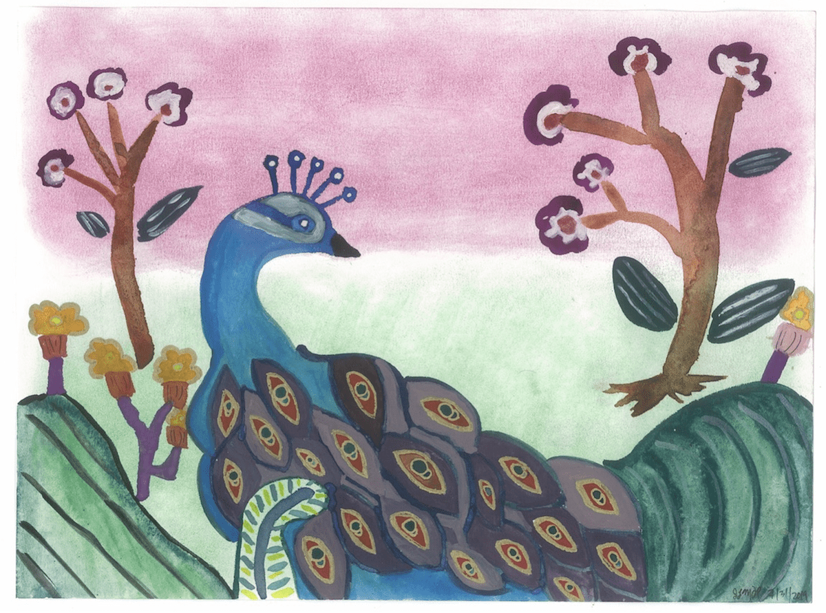 Whimsical peacock painting by Jennifer Margulis. Making art is another good way to find inner peace.