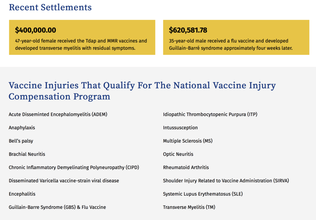 Screenshot from Conway Homer PC, a vaccine-injury lawyer. | Jennifer Margulis, Ph.D.