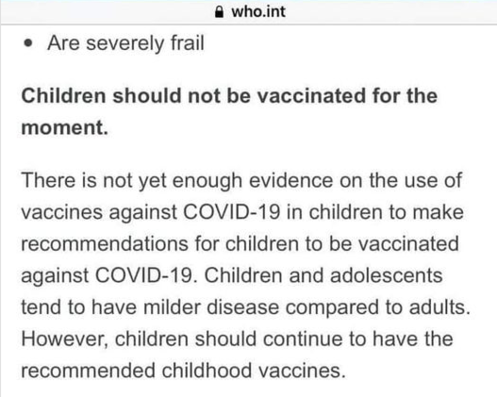 Screenshot from the WHO stating children should not be vaccinated against COVID-19 at this time. They have since removed this advice from their site. | www.JenniferMargulis.net